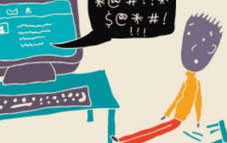 Dibujo de un niño frente a la computadora